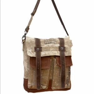 NWT Clea Ray messenger bag w/ canvas and leather